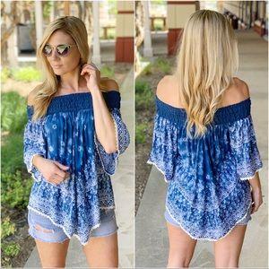 Blue off shoulder lace trim tunic